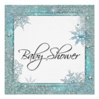 Teal Blue Snowflake Baby Shower Announcement