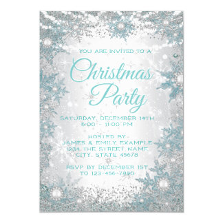 Teal Blue Snowflake Christmas Party Invitations