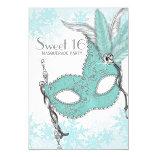 Teal Blue Snowflake Sweet 16 Masquerade Party 9 Cm X 13 Cm Invitation Card