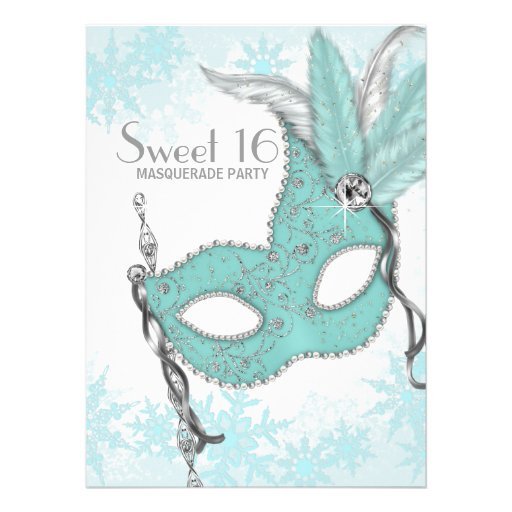 Teal Blue Snowflake Sweet 16 Masquerade Party Personalized Invitations
