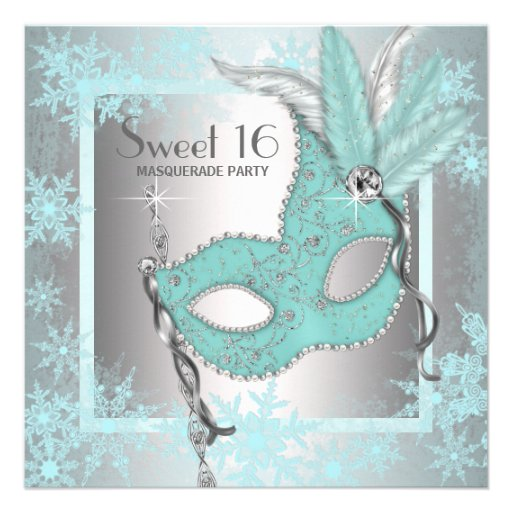 Teal Blue Snowflake Sweet 16 Masquerade Party Custom Invites