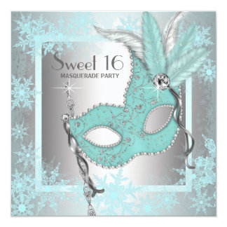 Teal Blue Snowflake Sweet 16 Masquerade Party 13 Cm X 13 Cm Square Invitation Card