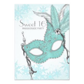 Teal Blue Snowflake Sweet 16 Masquerade Party 11 Cm X 16 Cm Invitation Card