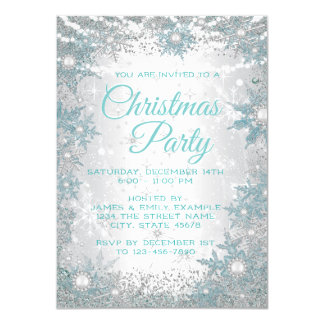 Teal Blue Snowflakes Christmas Party Invitations