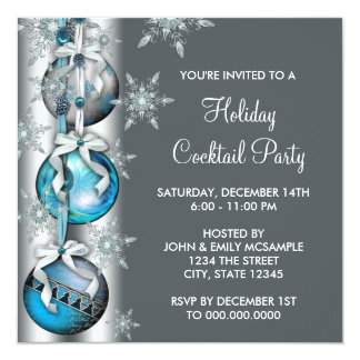 Teal Blue Snowflakes Ornaments Christmas Party 13 Cm X 13 Cm Square Invitation Card