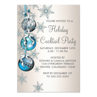 Teal Blue Snowflakes Ornaments Christmas Party 13 Cm X 18 Cm Invitation Card