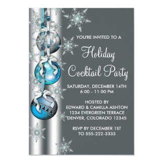 Teal Blue Snowflakes Ornaments Christmas Party 13 Cm X 18 Cm Invitation Card