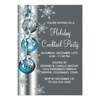 Teal Blue Snowflakes Ornaments Christmas Party Personalised Announcement