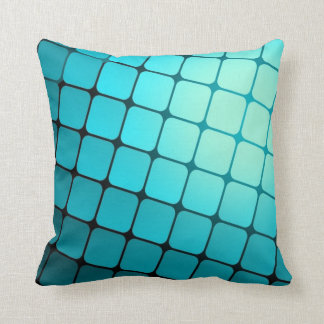 Teal Blue Square Tiles Pattern Throw Pillow