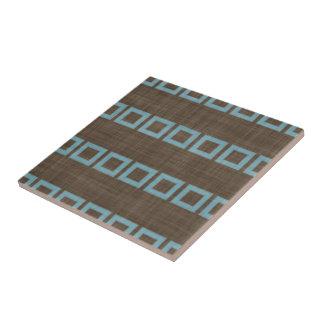 Teal Blue Squares Pattern On Dark Coffee Brown Ceramic Tile