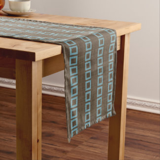 Teal Blue Squares Pattern On Dark Coffee Brown Long Table Runner
