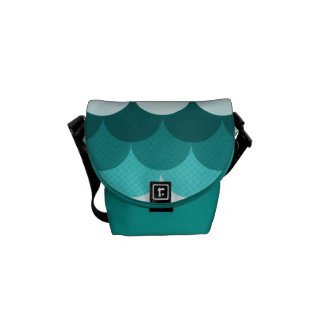 Teal Blue Stacked Circles Courier Bags