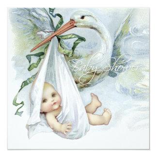 Teal Blue Stork Baby Shower 13 Cm X 13 Cm Square Invitation Card