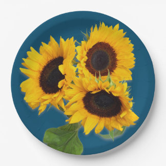Teal Blue Sunflower Bouquet Disposable Paper Plate