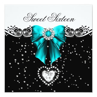 Teal Blue Sweet Sixteen Sweet 16 Party 13 Cm X 13 Cm Square Invitation Card