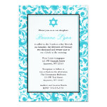 Teal Blue Swirl Damask Bat Mitzvah Invitations
