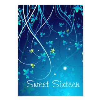 Teal Blue Swirls Sweet Sixteen Party Card