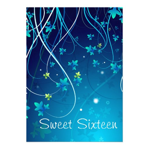 Teal Blue Swirls Sweet Sixteen Party Personalized Invite