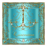 Teal Blue Tiara Gold Quinceanera 15th Birthday