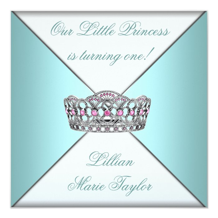 Teal Blue Tiara Princess First Birthday Party 13 Cm X 13 Cm Square Invitation Card