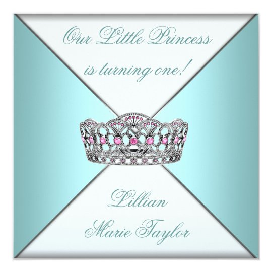 Teal Blue Tiara Princess First Birthday Party Card