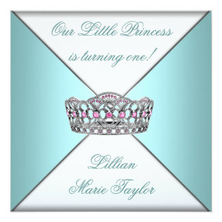 Teal Blue Tiara Princess First Birthday Party Announcement