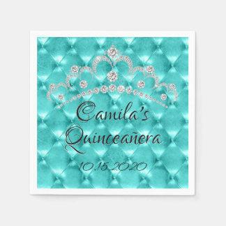 Teal Blue Tiara Quinceañera Celebration Paper Napkin