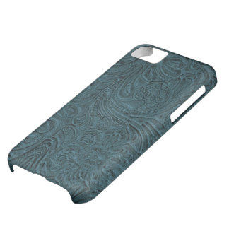 Teal Blue Tooled Leather Look Cowboy Country iPhone 5C Case
