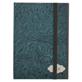 Teal Blue Tooled Leather Look Personalised iPad Air Case