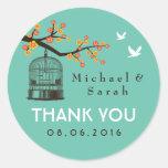 Teal Blue Vintage Bird Cage Floral Wedding Sticker