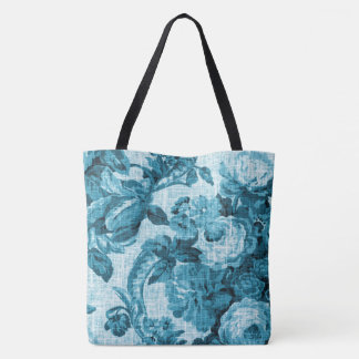Teal Blue Vintage Botanical Floral Toile Fabric Tote Bag