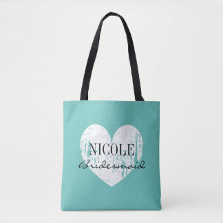 Teal blue vintage love heart bridesmaid tote bag