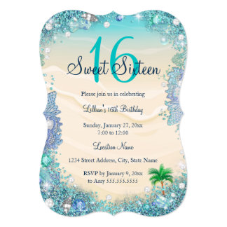 Teal Blue Water Ocean Sand Pearls Sweet 16 Party 13 Cm X 18 Cm Invitation Card