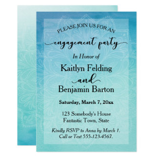 Teal & Blue Watercolor Mandala Engagement Party Card