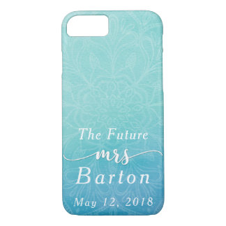 "Teal & Blue Watercolor ""The Future Mrs"" Typography iPhone 8/7 Case"