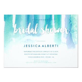 Teal Blue Watercolor Wash Bridal Shower Invitation
