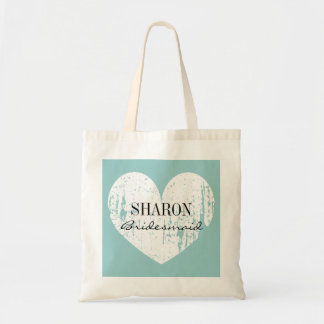 Teal blue weathered heart bridesmaid tote bag