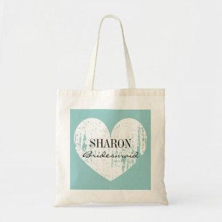 Teal blue weathered heart bridesmaid tote bag