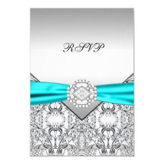 "Teal Blue Wedding RSVP 3.5"" X 5"" Invitation Card"