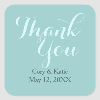 Teal Blue Wedding Thank You Stickers