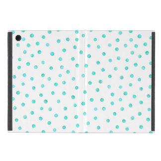 Teal Blue White Confetti Dots Pattern Cover For iPad Mini
