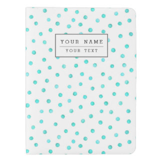 Teal Blue White Confetti Dots Pattern Extra Large Moleskine Notebook
