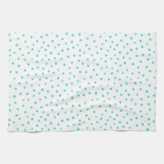 Teal Blue White Confetti Dots Pattern Hand Towel