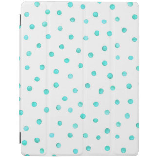 Teal Blue White Confetti Dots Pattern iPad Cover