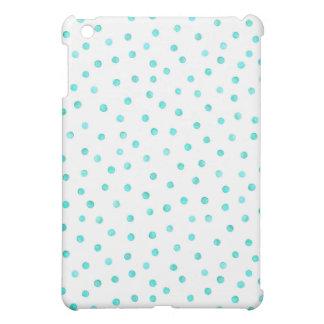 Teal Blue White Confetti Dots Pattern iPad Mini Cover