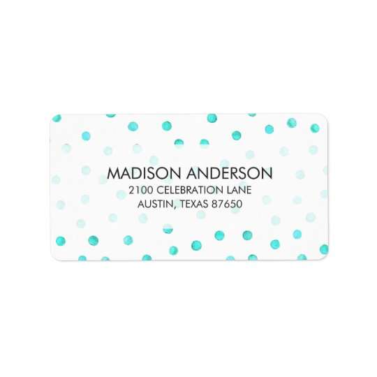 Teal Blue White Confetti Dots Pattern Label