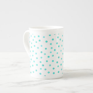 Teal Blue White Confetti Dots Pattern Tea Cup