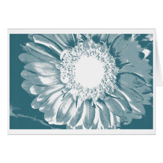 Teal Blue White Daisy Floral Notecard & Stamp Note Card