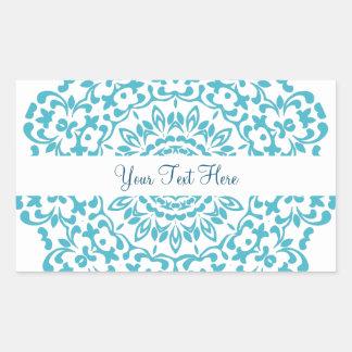 Teal Blue White Elegant Classy Lace Perxonalized Rectangular Sticker