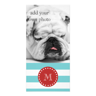 Teal Blue White Stripes Pattern, Red Monogram Picture Card
